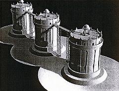 駒沢給水塔が三塔構成になった場合の想像図(CG作成は会員の山本淳氏)